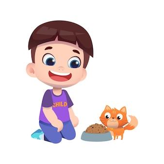 ペットの猫に餌をやる幸せなかわいい子供のキャラクター