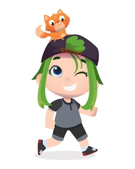 幸せなかわいい子供のキャラクターはペットの猫と遊ぶ
