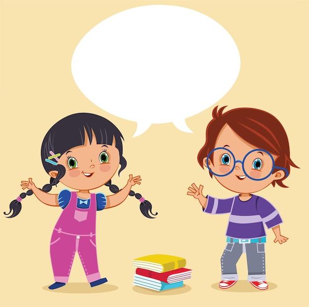 행복 한 귀여운 아이 소녀와 소년 풍선 대화 그림