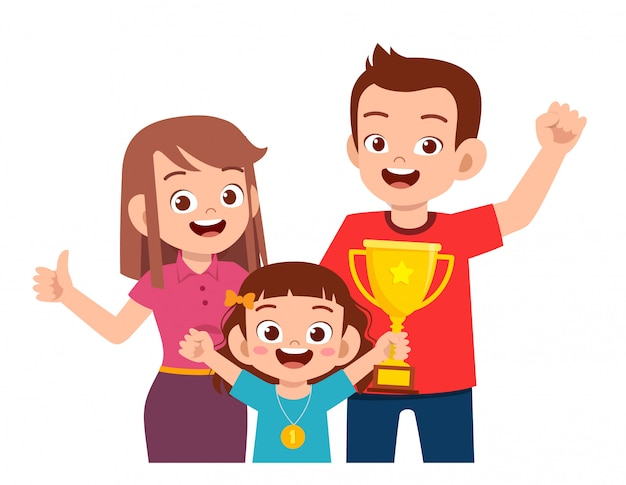 Happy cute kid girl become first winner