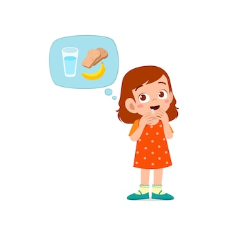 Счастливая милая девочка чувствует голод, хочет поесть и думает о еде