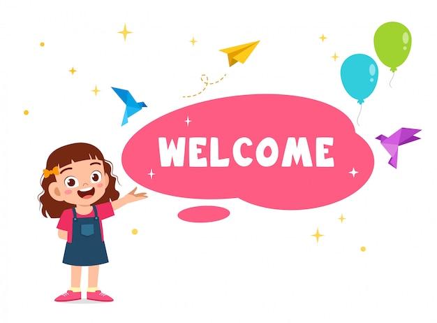 Happy cute kid girl greeting card welcome
