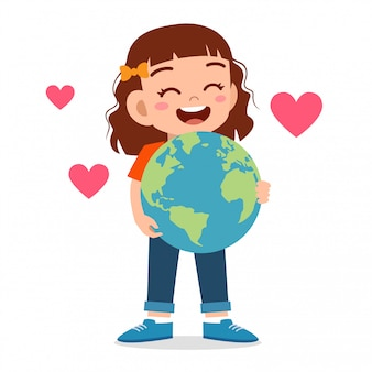 Happy cute kid girl hug small earth