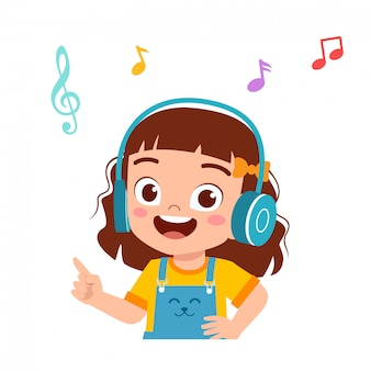 Happy cute kid girl listen good music
