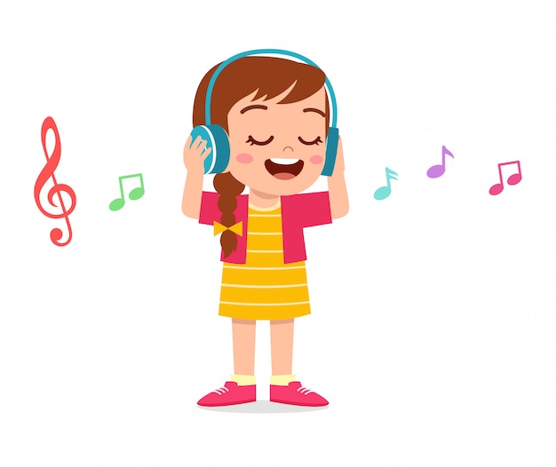Happy cute kid girl listen to music