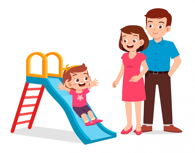 Happy cute kid girl play slide with mom and dad