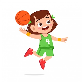 행복 한 귀여운 꼬마 소녀 놀이 기차 농구