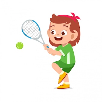 Happy cute kid girl play train tennis illustration