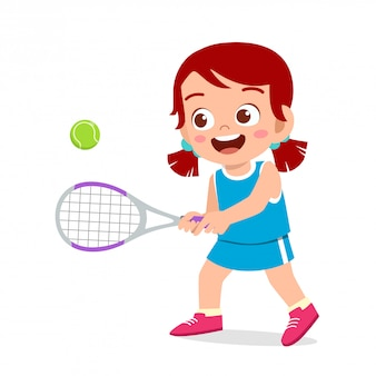 Happy cute kid girl play train tennis