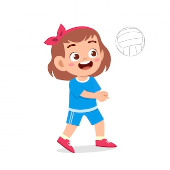 Happy cute kid girl play train volleyball