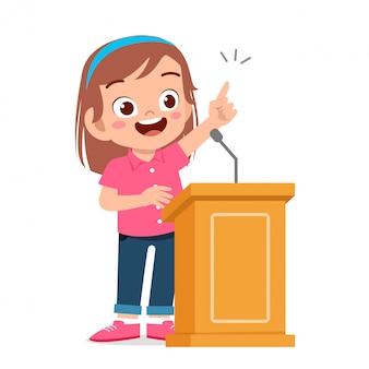 Happy cute kid girl speech on podium