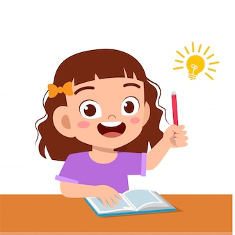 Happy cute kid girl study hard think