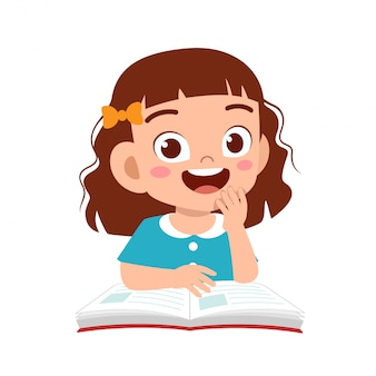 Happy cute kid girl study with smile