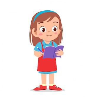 Happy cute kid girl waiter write order