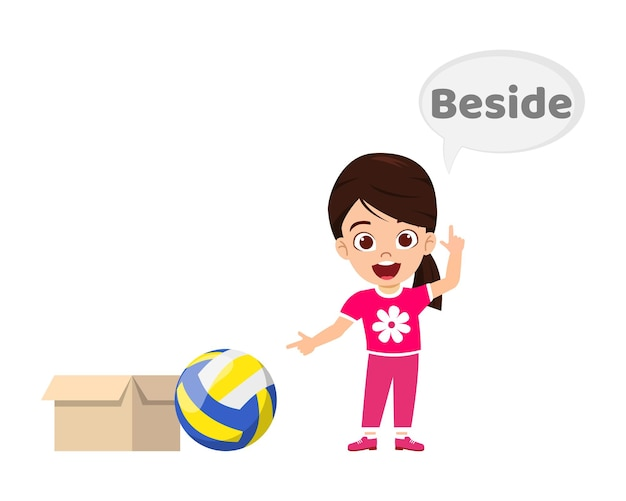 Happy cute kid girl with ball and carton, learning preposition concept, beside preposition and pointing isolated