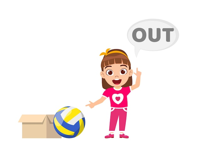 Happy cute kid girl with ball and carton, learning preposition concept, out preposition and pointing isolated