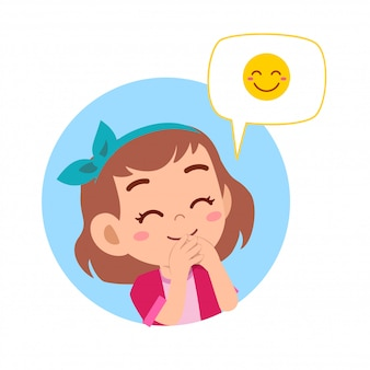 Happy cute kid girl with emoji expression