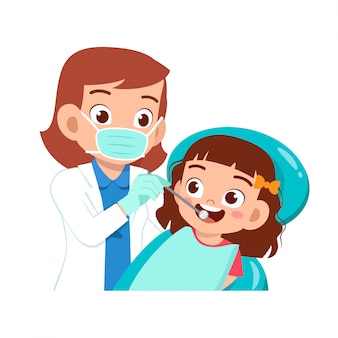 Happy cute kid go to dentist check