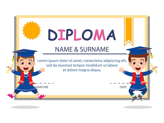 Happy cute kid graduate boy and girl jumping on diploma certificate isolated on white background