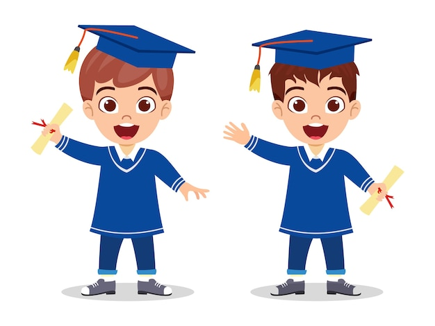 Happy cute kid graduate boys standing with certificate and waving isolated on white background