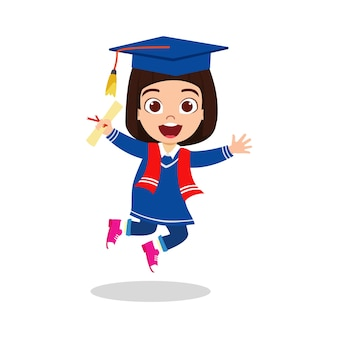 Happy cute kid graduate girl jumping with certificate isolated on white background
