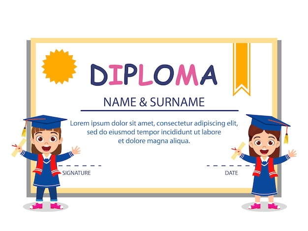 Happy cute kid graduate girls standing on diploma certificate isolated on white background