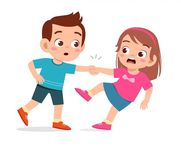 Happy cute kid help friend from falling down