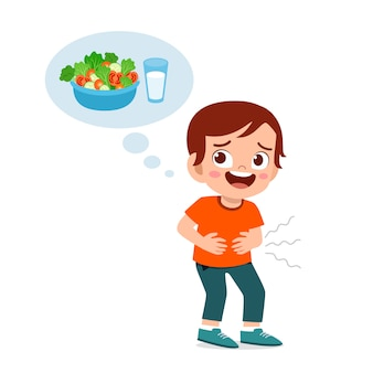 Happy cute kid hungry want to eat Premium Vector