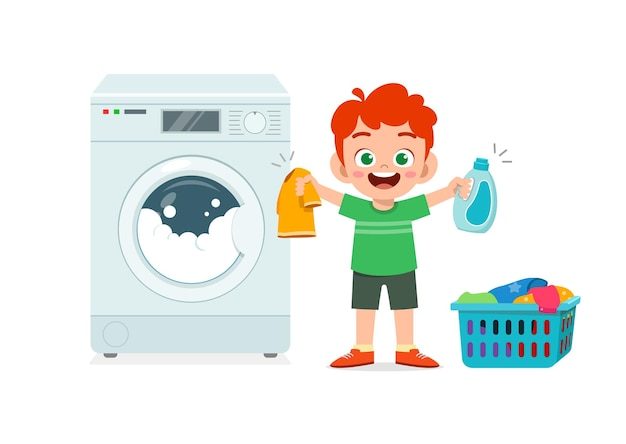 Happy cute kid do laundry with washing machine