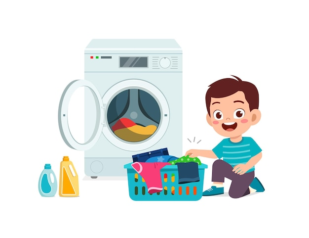 Happy cute kid do laundry with washing machine