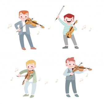 Happy cute kid play music violin vector illustration set