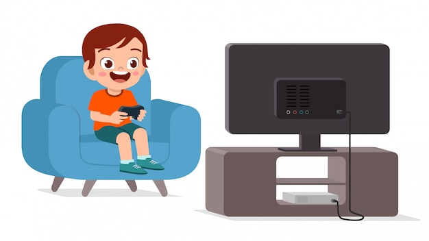 Happy cute kid play video game alone