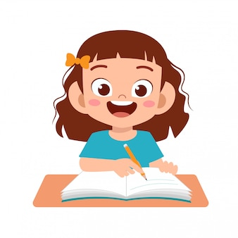 Happy cute kid study with smile