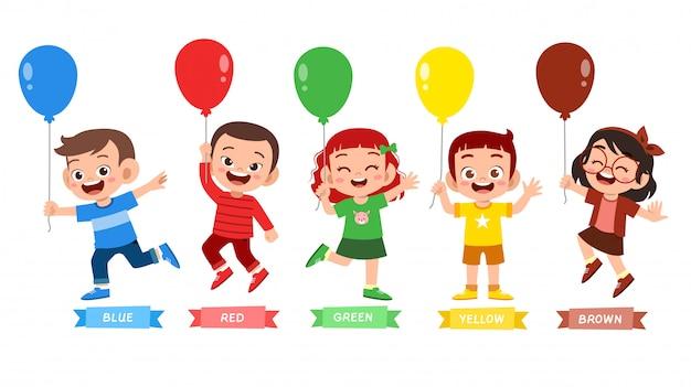 Happy cute kid wear many color design