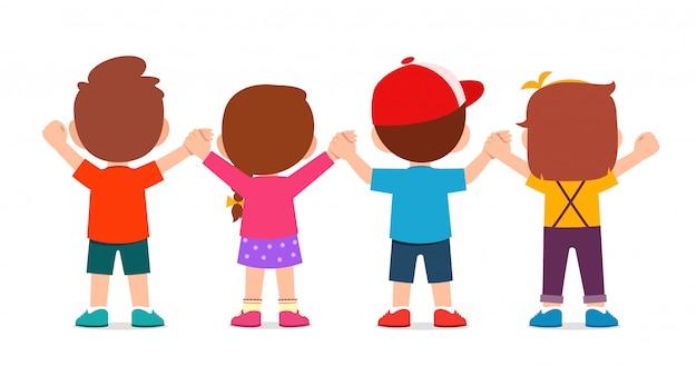 행복 한 귀여운 아이 소년과 소녀의 손을 잡고