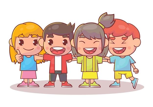 행복 한 귀여운 아이 소년과 소녀는 함께 포옹