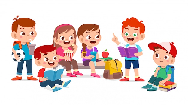 행복 한 귀여운 아이 소년과 소녀는 함께 책을 읽고
