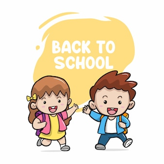 Happy cute kids boy and girl back to school