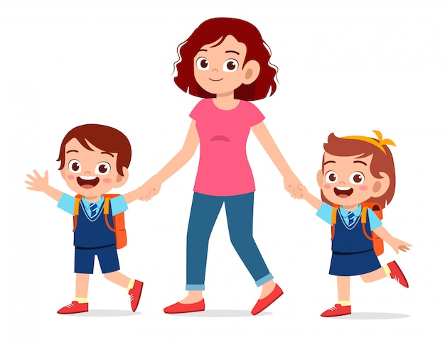 Happy cute kids boy and girl go to school with mom