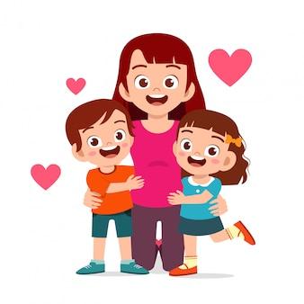Happy cute kids boy and girl hug mom