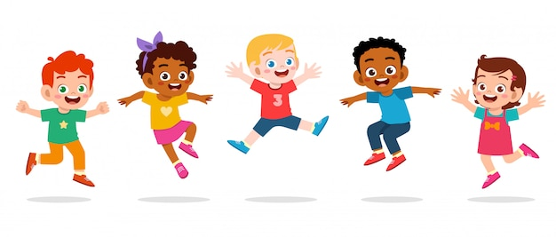 Happy cute kids boy and girl jump | Premium Vector