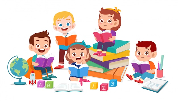 Happy cute kids boy and girl read book together