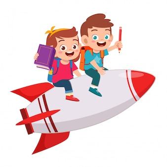 Happy cute kids boy and girl ride rocket