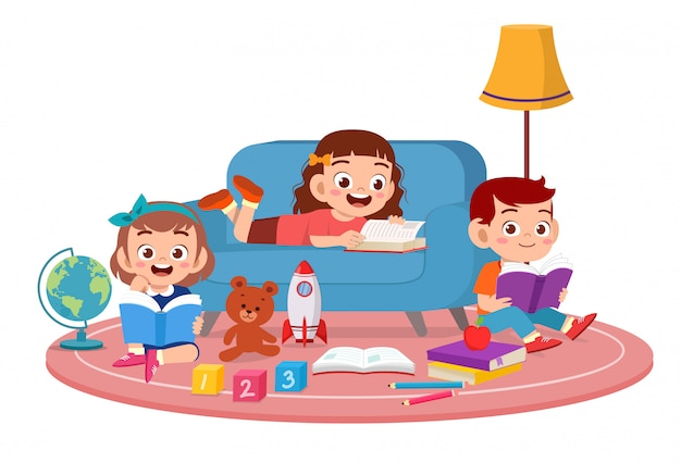 Happy cute kids boy and girl study read together