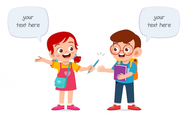 Happy cute kids boy and girl study together