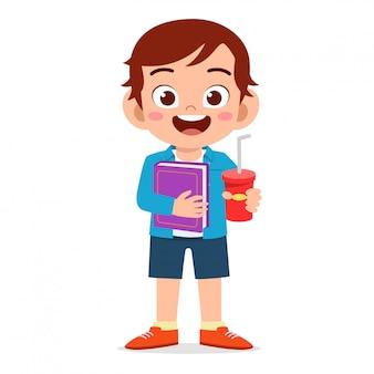 Happy cute kids boy prepare to study