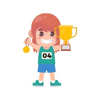 금메달과 트로피를 들고 행복 한 귀여운 아이