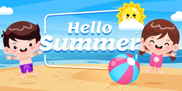 Happy cute kids jump with summer greeting banner