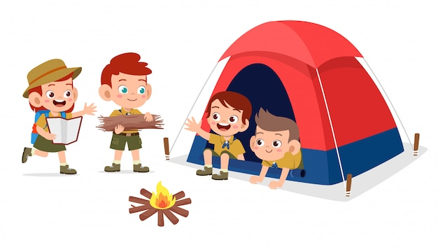 Happy cute kids outdoor camp summer holiday