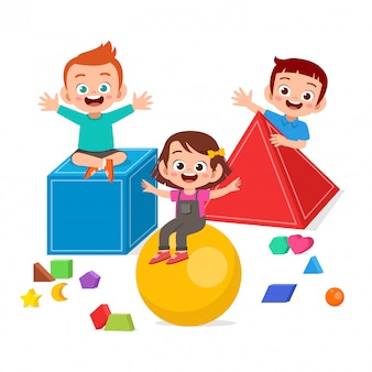 Happy cute kids play learn 3d geometry